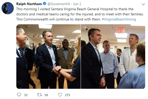 Governor Northam Hospital Visit Twitter June 1 2019