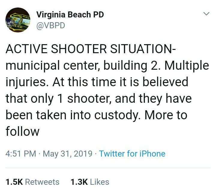 VBPD Twitter Announcement Va Beach Shooting Drill