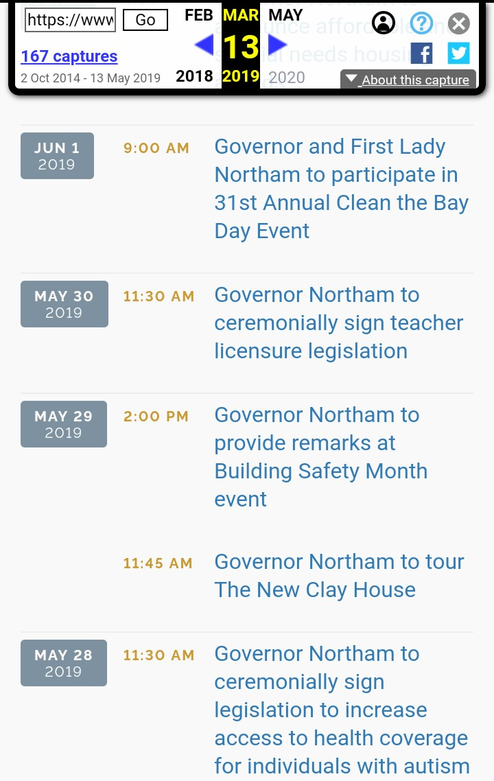 Virginia Governor Northam's Itinerary / Schedule