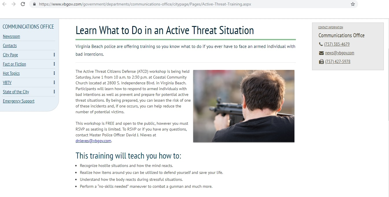 Virginia Beach Active Threat Situation Training Drill Scheduled for June 1, 2019