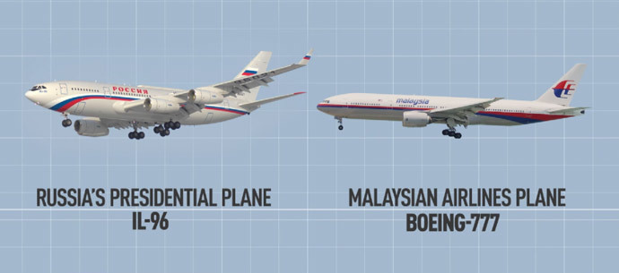 Comparison of MH17 and Putin's Presidential Plane Source: rt.com