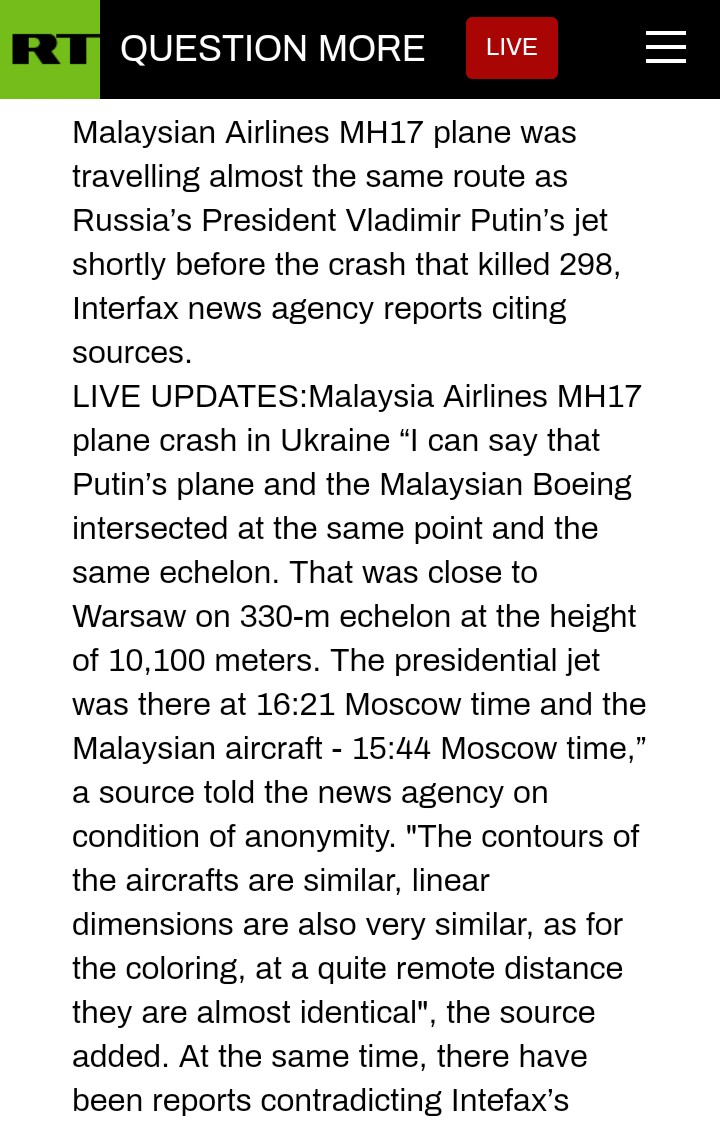 Rt.com Report on Vladimir Putin's Plane vs MH17 Plane